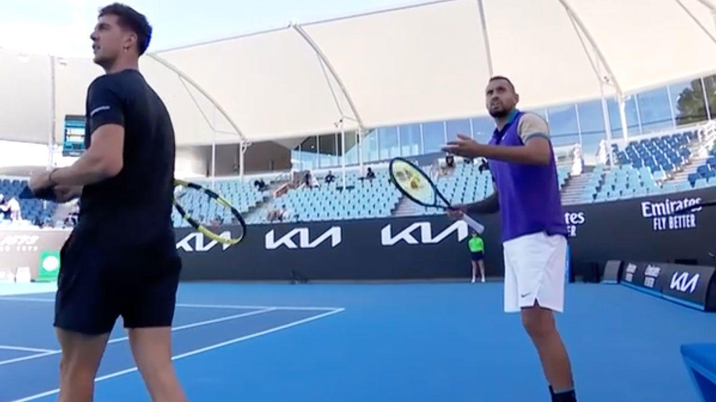 Nick Kyrgios, Thanasi Kokkinakis cop pre-match time violation during doubles win