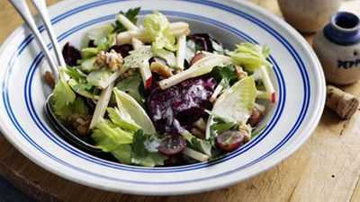 """Click here to whip up a luscious <a href=""""http://kitchen.nine.com.au/2016/05/17/12/40/waldorf-salad"""" target=""""_top"""">waldorf salad</a>"""