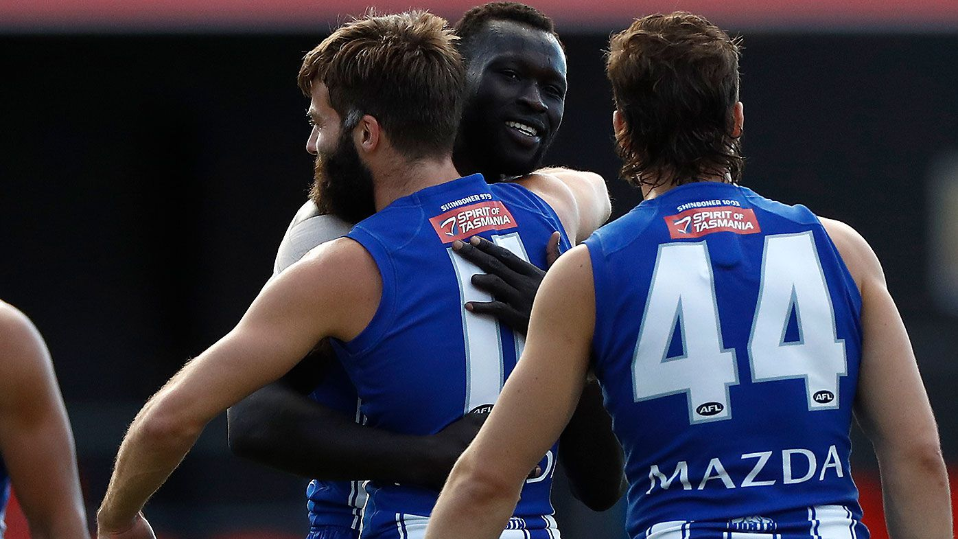 AFL great Dermott Brereton brought to tears over 'heroic' Majak Daw return after mental health battle