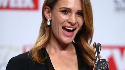 Danielle Cormack poses in the awards room after winning the Silver Logie for Most Outstanding Actress. (Getty)