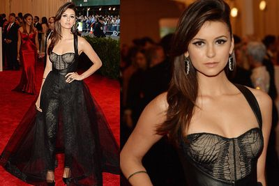 <i>The Vampire Diaries</i> beauty rocks a Monique Lhuillier gown at the MET Gala in NYC.