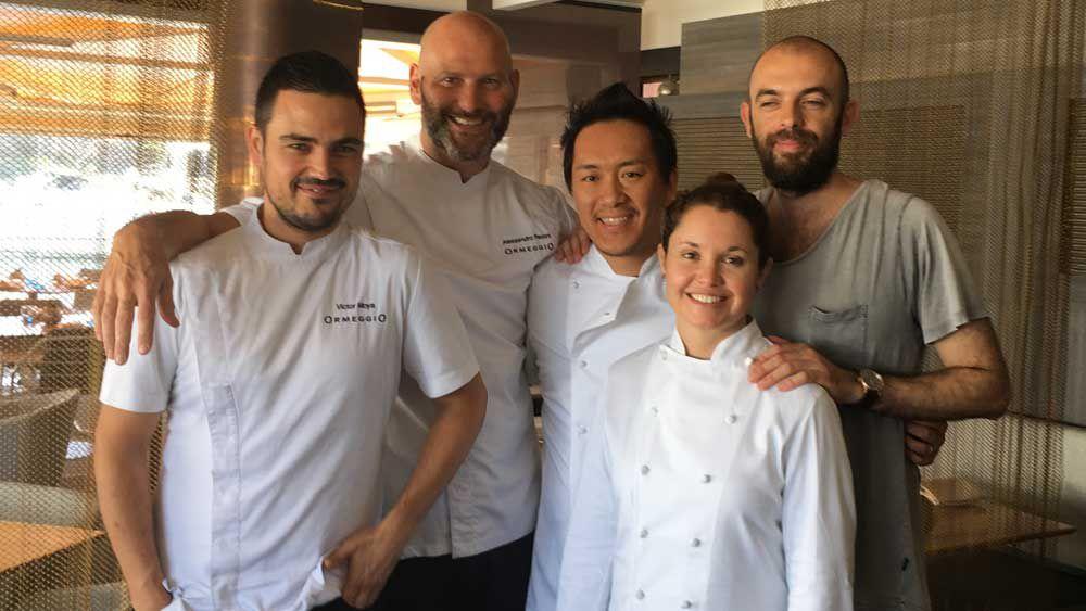 The international team that collaborated at Ormeggio - Victor Moya, Alessandro Pavoni, Kondo Takahiko, Karime Lopez Moreno Tagle and Federico Zanellato