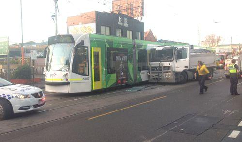 The truck slammed into the left side of the tram. Picture: Madeline Slattery