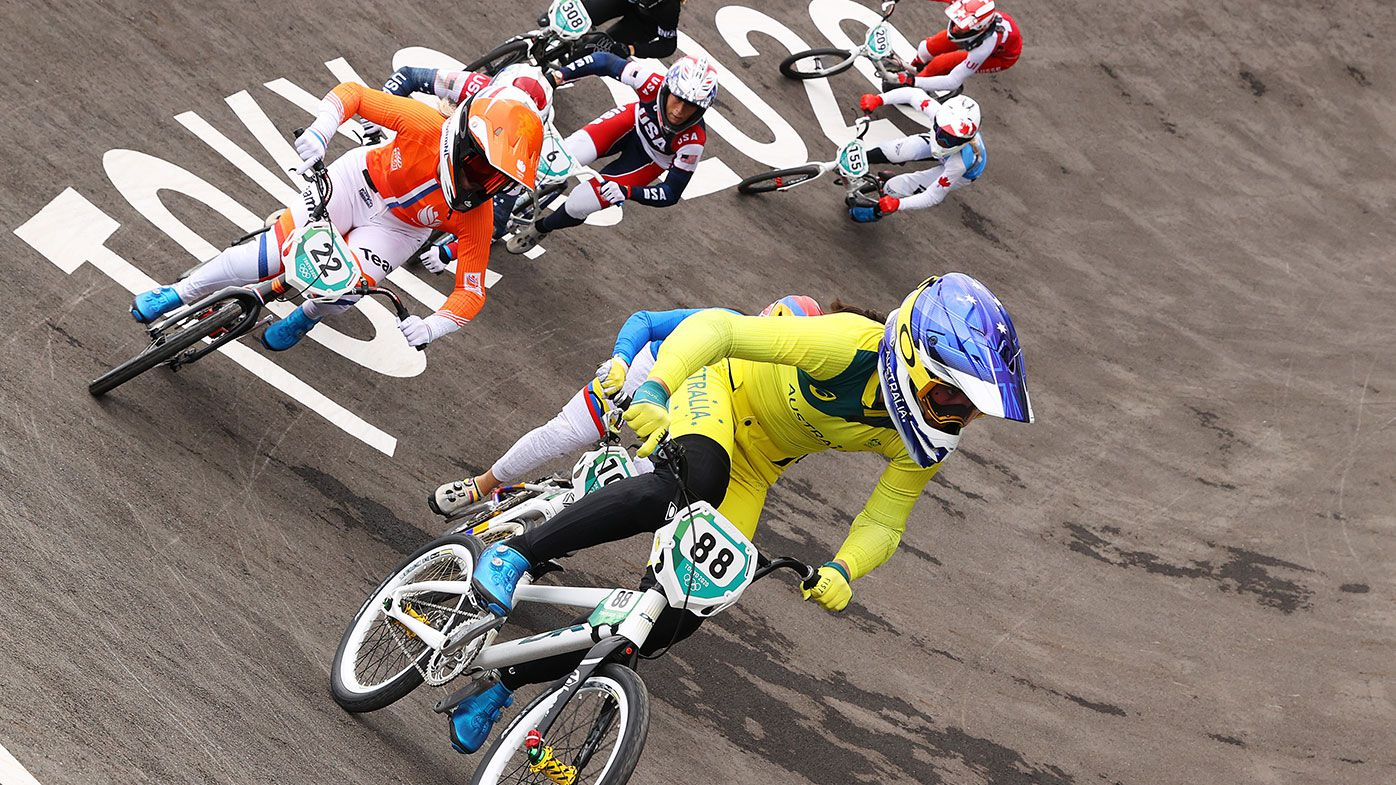 Saya Sakakibara of Team Australia, Merel Smulders of Team Netherlands, Mariana Pajon of Team Colombia, Felicia Stancil of Team United States, Rebecca Petch of Team New Zealand, Drew Mechielsen of Team Canada and Zoe Claessens of Team Switzerland as they compete during the Women's BMX semifinal heat 1, run 2 on day seven of the Tokyo 2020 Olympic Games at Ariake Urban Sports Park on July 30, 2021 in Tokyo, Japan. (Photo by Francois Nel/Getty Images)