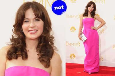 Zooey looks more like a bridesmaid than an A-lister.