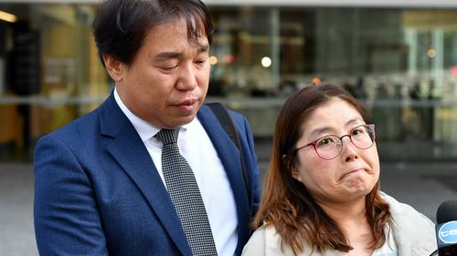 Hyeong-Gyu Ban (left) and Suk Bun Jung (right), the parents of murdered South Korean student Eunji Ban outside court.