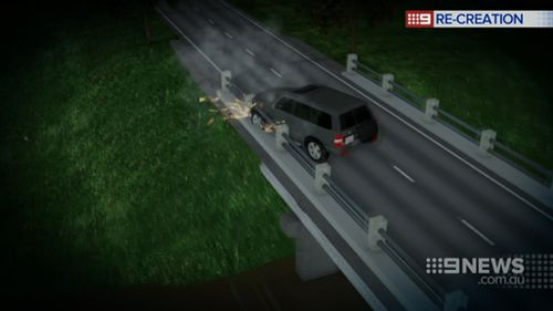 The car smashed through the barrier. (9NEWS)