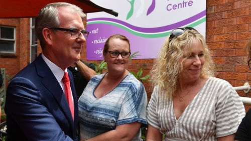 New South Wales Opposition Leader Michael Daley (left) during a visit to the Women's Health Centre in Penrith, Sydney.