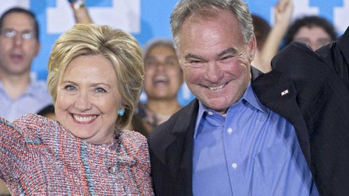 Hillary Clinton and Tim Kaine. (AP)