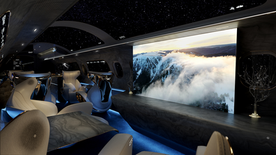 Rosen Aviation cabin design: The Maverick Project replaces traditional porthole cabin windows with virtual screens.