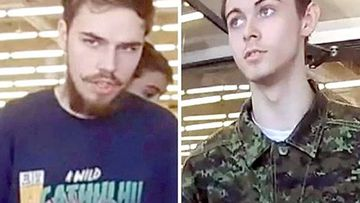 CCTV captures suspected murderers Kam McLeod and Bryer Schmegelsky as they walks out of a store in Canada, during a massive three-week manhunt