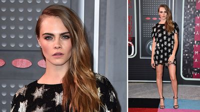 Model, actor and serial prankster Cara Delevingne showed her serious side on the red carpet. (AAP)