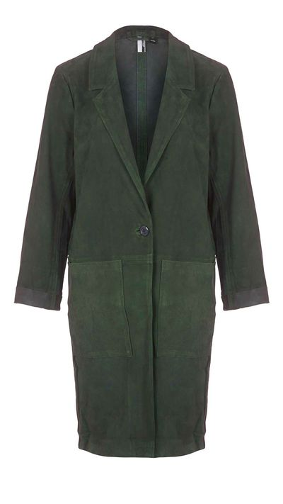 "<a href=""http://www.topshop.com/en/tsuk/product/clothing-427/suede-duster-jacket-4505323?Ntt=green&amp;bi=1&amp;ps=20"" target=""_blank"">Jacket, approx. $524, Topshop</a>"
