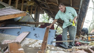 Lenny Richard was sleeping when the wall fell in as his home was destroyed  by Hurricane Ida in Houma, LA. Monday, Aug. 30, 2021.