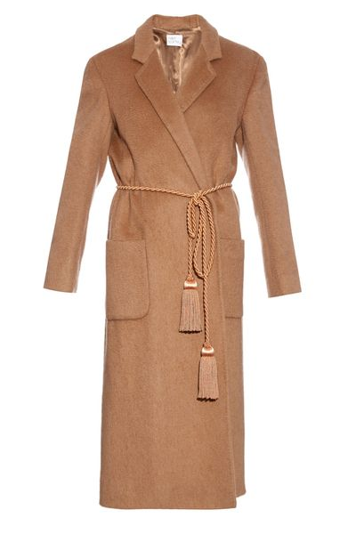<p>Sitting at the end of the collection's price spectrum is this tan, camel-hair coat, a modern woman's wardrobe classic inspired by a men's dressing gown.</p>