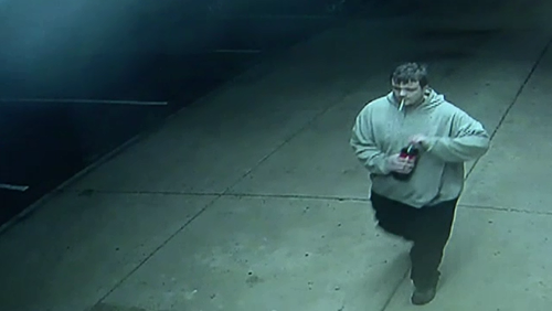 Police are seeking information on the man pictured in this CCTV still after a Werribee pizza shop was robbed yesterday.
