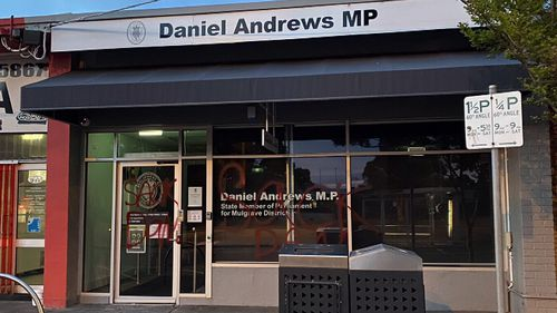 Victorian premier Daniel Andrews' office has been daubed with graffiti