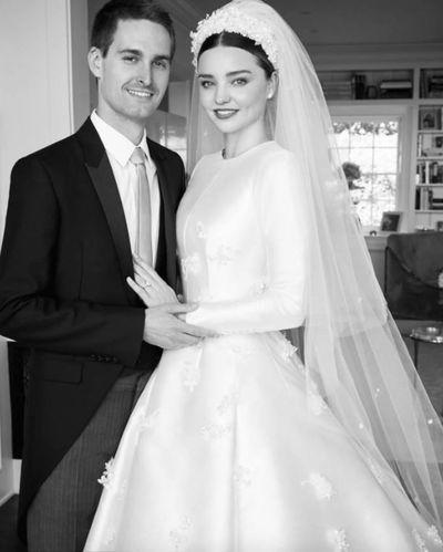 <p>Miranda Kerr and Evan Spiegel, 2017</p> <p>The bride wore -Christian Dior Haute Couture</p>