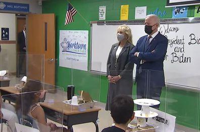 President Joe Biden and Dr. Jill Biden at Yorktown Elementary School in Virginia.
