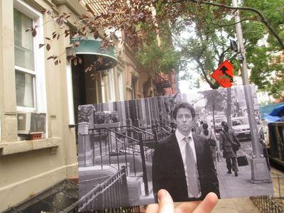 Hugh Grant looks dejected on 83rd Street in the 2002 film <I>Two Weeks Notice</I>. (Christopher Moloney)