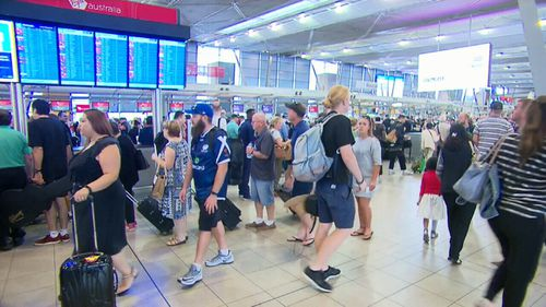 The technical glitch at Sydney Airport has since been resolved and travellers are slowly being processed, but lengthy delays remains (Supplied).