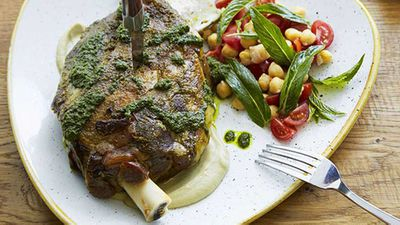 """Matt Moran's<a href=""""http://kitchen.nine.com.au/2016/05/20/10/05/slowroasted-moran-family-lamb-shoulder-with-chermoula-zucchini-and-mint"""" target=""""_top"""">Slow-roasted Moran family lamb shoulder with chermoula, zucchini and mint</a> recipe"""