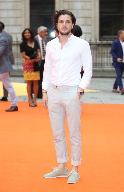 Games of Thrones actor and Dolce & Gabbana fragrance model Kit Harringtonat the Royal Academy of Arts summer exhibition.