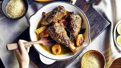 "Recipe: <a href=""http://kitchen.nine.com.au/2016/05/05/11/13/marrakech-lamb-shanks"" target=""_top"">Marrakech lamb shanks&nbsp;</a>"