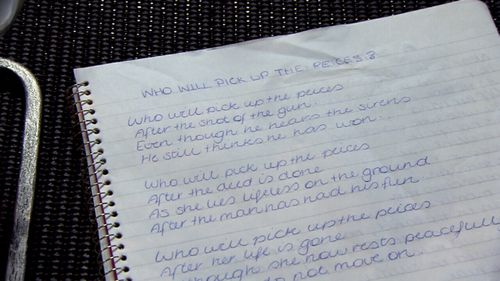Shandee's mother Vicki found a poem she had written after Shandee had died.