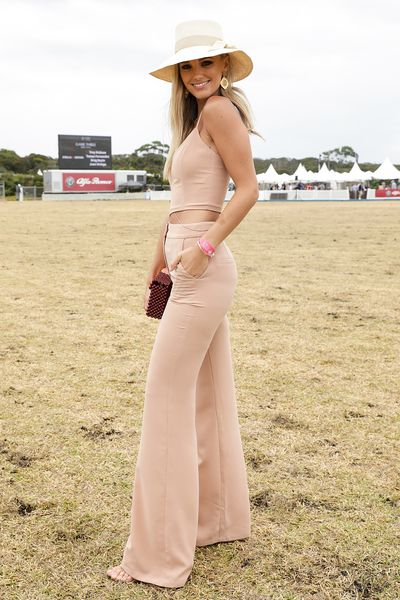 Model Brooke Hogan at the 2018 Portsea Polo in custom Delphine the Label