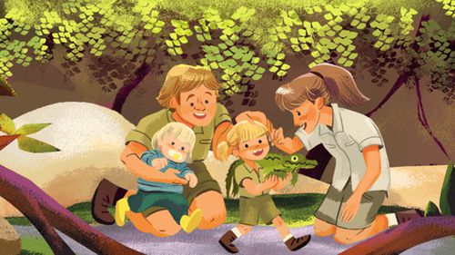 Google Doodle is honouring Steve Irwins birthday with a series of colourful illustrations of his love for animals and his family