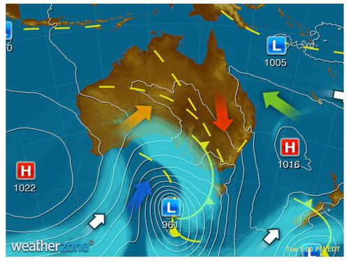 Hot, dry and gusty northerlies for western QLD, inland NSW and VIC ahead of a trough. (Weatherzone)