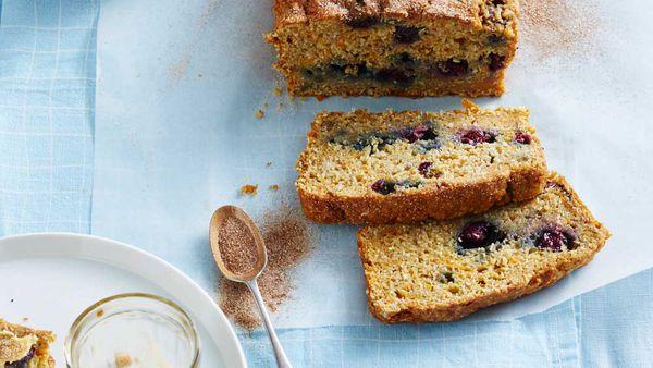 """Recipe: <a href=""""https://kitchen.nine.com.au/2016/06/27/10/07/blueberry-carrot-coconut-loaf-janelle-bloom"""" target=""""_top"""">Janelle Bloom's blueberry, carrot and coconut loaf</a>"""
