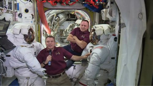 "Terry Virts and ""Butch"" Wilmore ahead of their spacewalk. (AAP)"