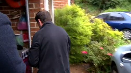 Aidan Fenton's father outside the family home. (9NEWS)
