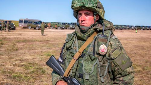This Russian soldier guards an area during the military exercises in the Chita region, Eastern Siberia, during the Vostok 2018 exercises.