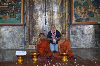 Dicko meeting some of the local Monks.