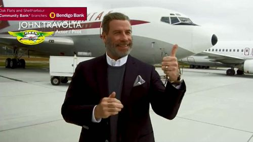 Travolta in front of the Boeing 707 he will be donating.