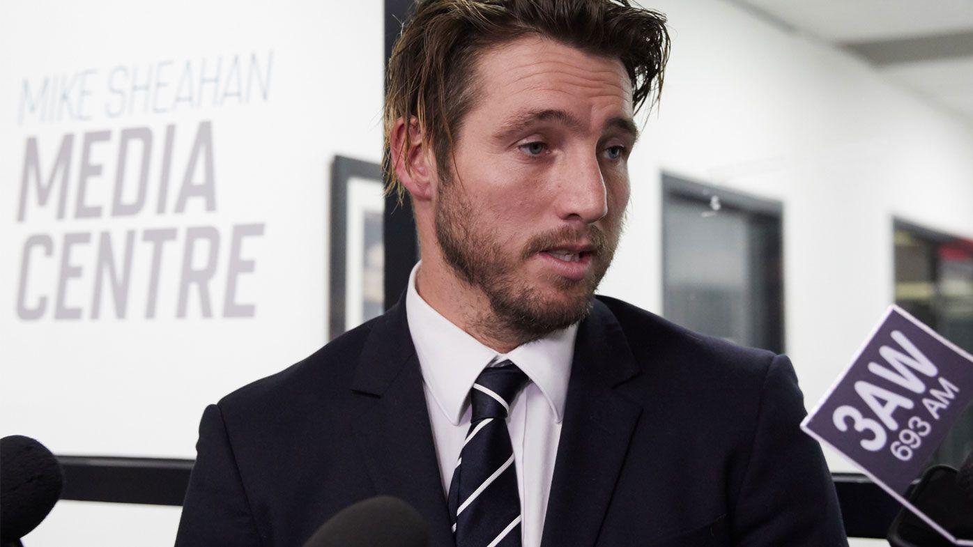 Carlton Blues player Dale Thomas leaves the AFL tribunal