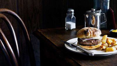 <p><strong>April Bloomfield's lamb burger with triple-cooked chips</strong></p>