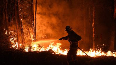 NSW RFS fire fighters work through the night to prevent a flare up from crossing the Kings Highway in between Nelligen and Batemans Bay on January 2.
