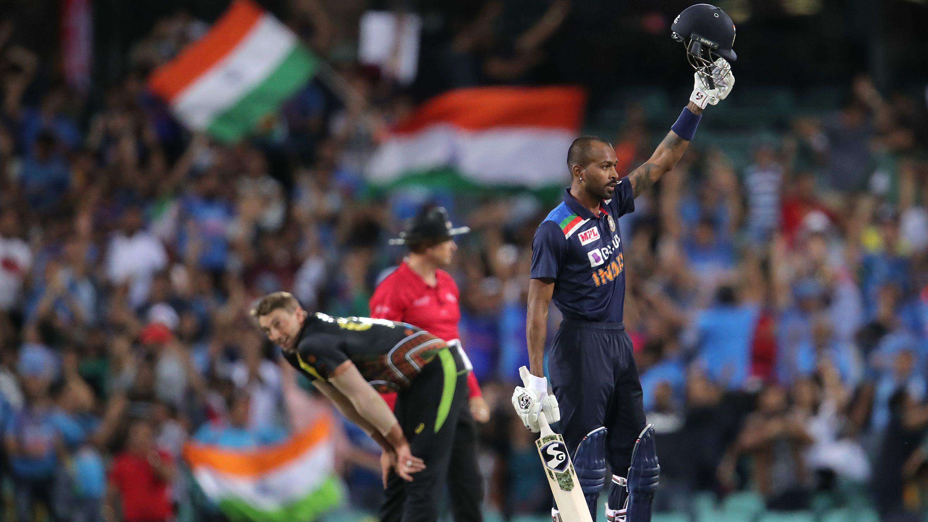 Hardik Pandya of India celebrates winning game two.
