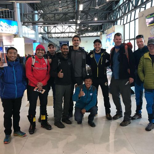 Michael Davis (third from right) arrives in Kathmandu.