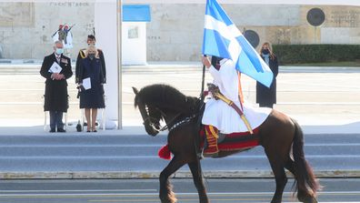 Prince Charles, Prince of Wales and Camilla, Duchess of Cornwall attend the Greek Independence Day Military Parade at Syntagma Square on March 25, 2021 in Athens, Greece