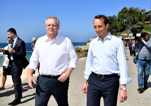 Prime Minister Scott Morrison and Liberal Party candidate for Wentworth Dave Sharma during a visit to Bronte Beach in Sydney.