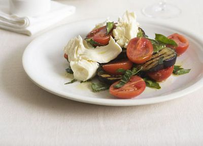 Eggplant and mozzarella salad with rosemary bruschetta