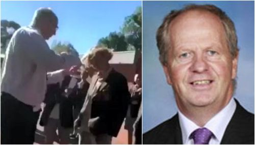 Rohan Brown was sacked after the video emerged of him snipping a students hair before a school photo. (Supplied)