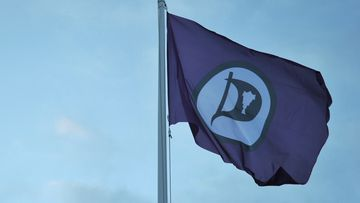 The flag of the the Pirate Party of Iceland near the party's headquarters in Reykjavik port. (AFP)