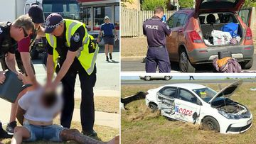 A wanted Queensland man has been arrested after a dramatic crime spree across Bundaberg this morning, resulting in multiple crashed cars and a firearm being discovered.