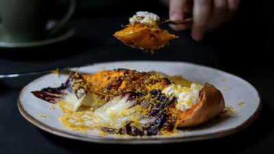 "Recipe: <a href=""http://kitchen.nine.com.au/2018/02/06/14/36/miso-roasted-butternut-squash-recipe"" target=""_top"">Miso roasted butternut squash</a> with serano, hazelnuts and perilla"